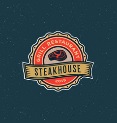 vintage steak house logo retro styled grill vector image