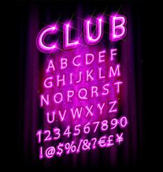 Violet pink neon lamp cinema font vector