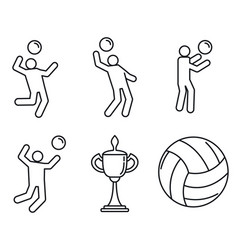 volleyball sport icons set outline style vector image