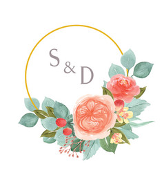 Watercolor florals hand painted with text wreaths vector