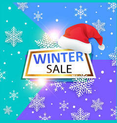 winter banner with santas hat vector image