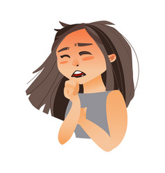 woman coughing covering mouth with her hand vector image