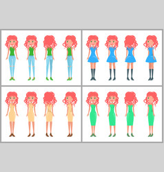 women in dresses and jeans summer mode vector image