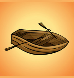 Wood boat icon cartoon style vector