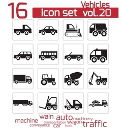 black vehicle icon set vector image