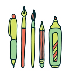 Pens pencil marker and brush set vector image
