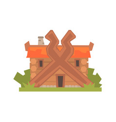 ancient timbered log house vector image