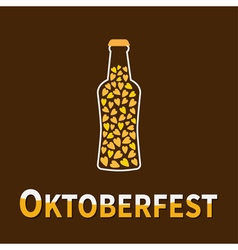beer bottle heart oktoberfest vector image vector image