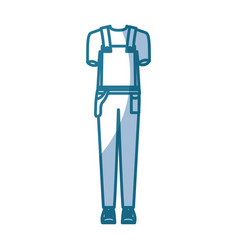 blue silhouette shading of overall man clothing vector image