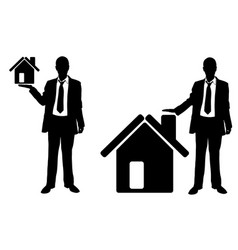 businessmen presenting houses vector image vector image
