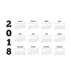 Calendar on 2018 year with week starting from vector image vector image