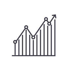 diagram graph up line icon sign vector image