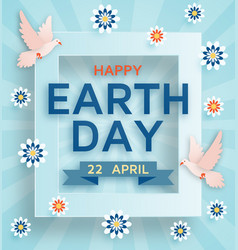 earth day cute background with doves vector image vector image