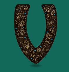 letter v with golden floral decor vector image vector image