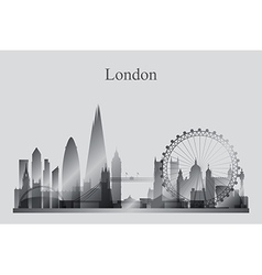 London city skyline silhouette in grayscale vector image