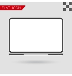 notebook Computer Icon Flat Style with red vector image vector image