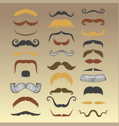 silhouette mustache hair hipster curly vector image vector image