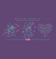 social media colorful linear vector image vector image