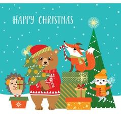 Woodland Christmas greetings vector image vector image