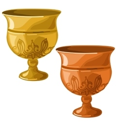 Antique gold and copper bowl isolated vector image