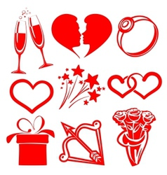 collection icon Valentine day vector image