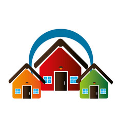 Colorful set collection houses icon design vector