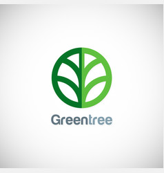 green tree round icon logo vector image