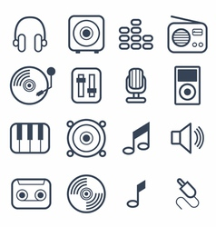 Music Icons with White Background vector image vector image