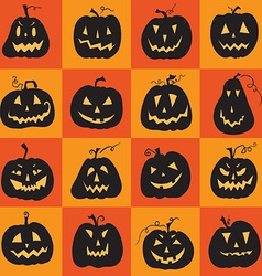 Set of a scary halloween pumpkin vector image