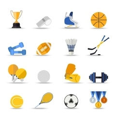 Set of sport isolated icons Flat style design vector image vector image