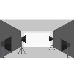 Background of empty photo studio with lighting vector