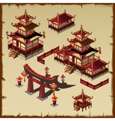 Houses in Japanese style vector image