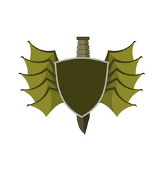 shield and bat wings emblem devil wing heraldry vector image vector image
