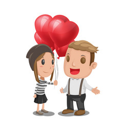 woman give heart balloon man vector image