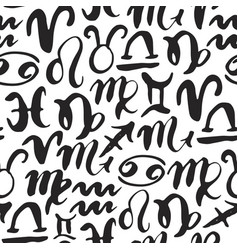 zodiac signs seamless pattern hand drawn vector image vector image