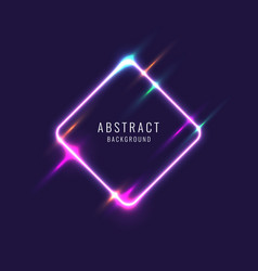abstract banner with neon line on a dark vector image