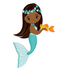 African american mermaid with turquoise fishtail vector