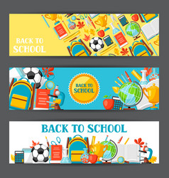 Back to school banners with education items vector