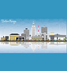 Baton rouge louisiana city skyline with color vector