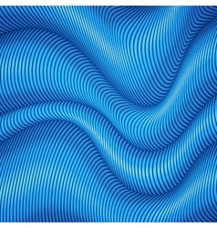 Blue striped waves 3d abstract background vector