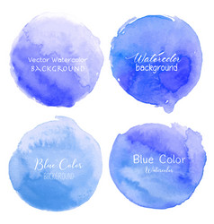 blue watercolor circle set on white background vector image