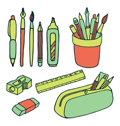 Brushes pencils pens ruler sharpener eraser icjns vector image