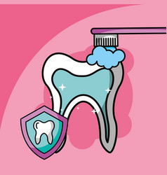 brushing tooth dental care symbol vector image