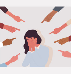 bullied children concept with crying girl vector image