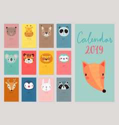 calendar 2019 cute monthly with animals vector image