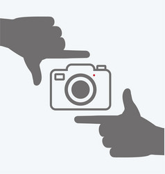 Camera icon with hands frame composition vector