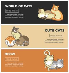 cats world and kittens pets web banners playing or vector image