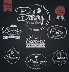 Chalkboard bakery labels vector
