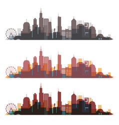 Chicago illinois skyline city colorful silhouette vector