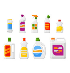 cleaning products set liquids powders sprays vector image